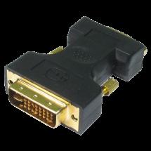 FAST ASIA adapter-konverter DVI-I na VGA (m/ž) (Crni),  DVI-I - muški, VGA - ženski