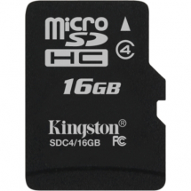 KINGSTON MicroSDHC 16GB Class 4 - SDC4/16GBSP  microSD, 16GB, 4