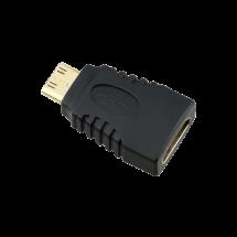 FAST ASIA HDMI adapter Mini HDMI m - HDMI ž,  (Crni),  HDMI 1.0-1.3 (FullHD), HDMI C Mini - muški, HDMI A - ženski, Adapter bez kabla