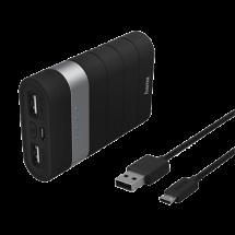 HAMA Joy Power bank / eksterna baterija - 137492  7800 mAh, 1 x Micro USB, 2 x USB A, Li-Ion, Crna