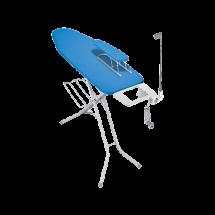 TEXELL Daska za peglanje Europa TIB-168 (Plava/Bela) + rešetka za odlaganje veša, utičnica za struju i daska za peglanje rukava  Bela/Plava