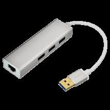 LINKOM USB hub USB 3.0  - LINKOM269  3 x USB-A 3.0, LAN port, USB 3.0 - A, Bela/Srebrna