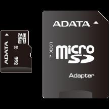 ADATA microSDHC 8GB Class 4 + SD adapter - AUSDH8GCL4-RA1  microSD, 8GB, 4