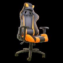 AH SEATING gejmerska stolica DS-042 (Crna/Narandžasta)  do 120 kg, Eko koža