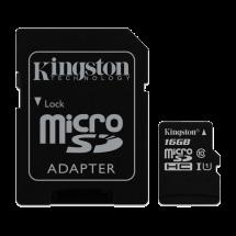KINGSTON Canvas Select MicroSDHC 16GB + Adapter class 10 UHS-I - SDCS/16GB  microSD, 16GB, UHS U1