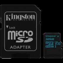 KINGSTON microSDHC Canvas Go! 32GB class 10 UHS-I U3 + Adapter - SDCG2/32GB  microSD, 32GB, UHS U3