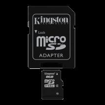 KINGSTON MicroSD 8GB Class 4 + adapter - SDC4/8GB  microSD, 8GB, 4