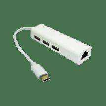 E-GREEN Multiport hub USB-C 3.1 sa 4 porta - KON00306  3x USB-A 2.0, LAN port (RJ45), USB 3.1 - C, Bela
