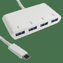 E-GREEN USB hub USB-C 3.1 4 port USB 3.0- KON00309  4 x USB-A 3.0  , USB 3.1 - C, Bela