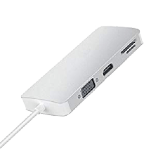 LINKOM Multiport hub USB-C sa 8 porta - LINKOM498  2x USB-A 3.0, HDMI, Micro SD, RJ45, SD, USB-C, VGA D-sub, USB 3.0 - C, Siva