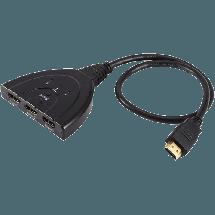 FAST ASIA HDTV HDMI Switch 3na1 0.5m (Crni),  HDMI 1.0-1.3 (FullHD), HDMI A - muški, HDMI A - ženski, Okrugli