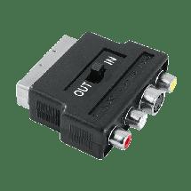 Hama adapter 3xRCA(činč)+S-video na scart - 42357  Scart, S-Video + 3.5 mm, 3-pina - ženski,, Crna