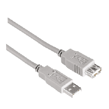 HAMA produžni USB kabl 3m (sivi) - 30618,  USB 2.0 - do 480 Mbps, USB-A, USB-A (ž), Okrugli