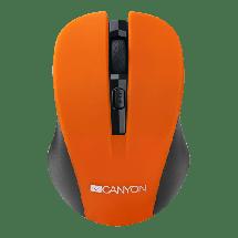 CANYON bežični miš CNE-CMSW1O (Crno/Narandžasti)  Optički, 1200dpi, 2.4GHz, Ergonomski dizajniran