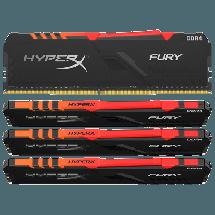 Memorija KINGSTON HyperX FURY (4 x 16GB kit) DDR4 3200MHz RGB - HX432C16FB3AK4/64  64GB kit, DDR4, 3200Mhz, CL16